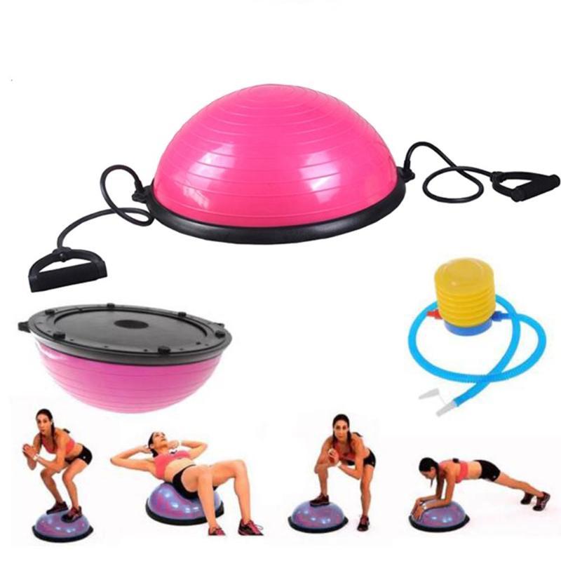 Demi-Yoga balle d'équilibre Gym entraînement balle demi Yoga balle exercices entraînement Fitball avec cordes et pompe pour Gym bureau maison
