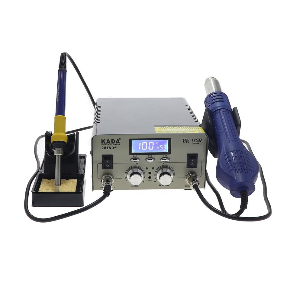 KADA 2018D hot air gun electric iron two in one desoldering station dual use digital display mobile phone repair welding station