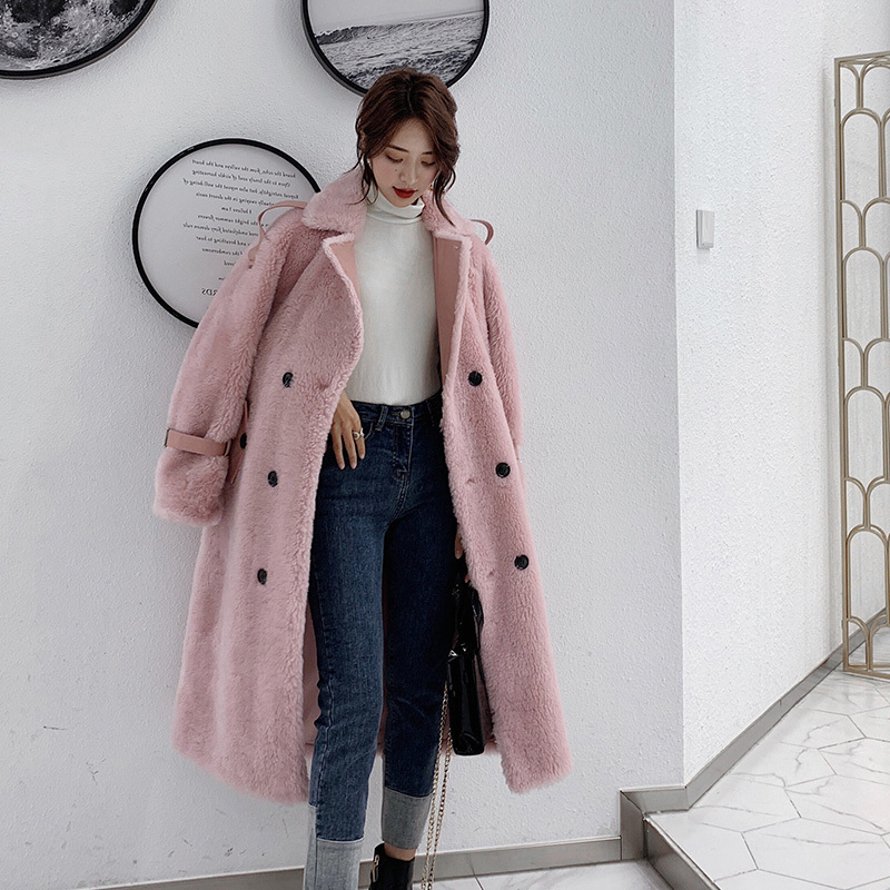 Winter Real Fur Coat Women Long Jacket Sheep Shearing Wool Fur Coats And Jackets Women Korean Clothes B18F34581 KJ3091