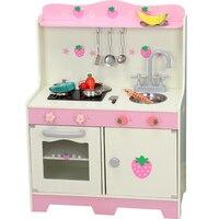 Lekool плита комплект японский Стиль деревянные кухонные игрушки Моделирование Strawber игрушечная кухня с посудой Детские ролевые игры, игрушки
