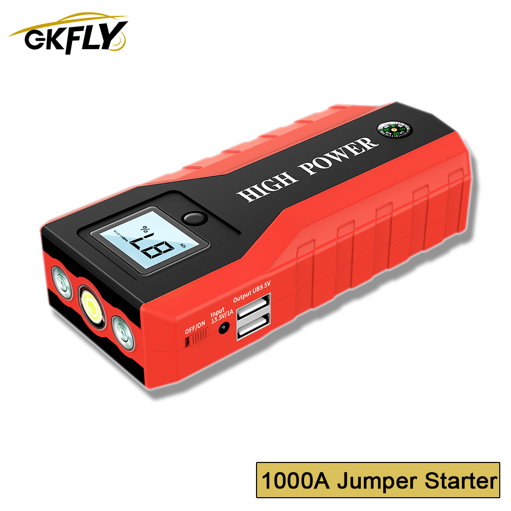 1000A Emergency <font><b>Car</b></font> Jump Starter Portable Starting Device Power Bank <font><b>Car</b></font> <font><b>Charger</b></font> For <font><b>Car</b></font> <font><b>Battery</b></font> Booster Buster Starter <font><b>Cables</b></font> image