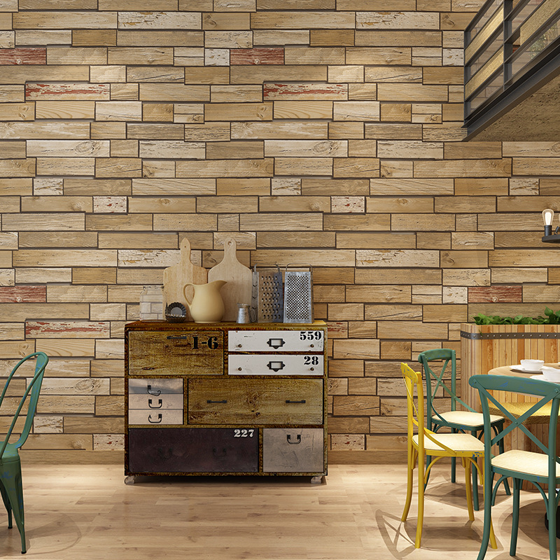 Vintage Yellow Brick Wallpaper Living Room Library Coffee Shop Internet Cafes Hotel TV Background Wallpaper Plaid Wallpaper
