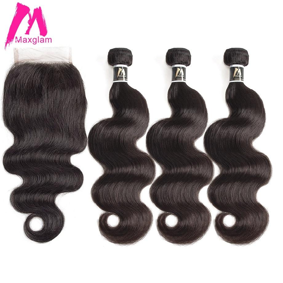 Human Hair Bundles With Closure Body Wave Short Brazillian Remy Hair Extension Long Weave Preplucked For Black Women 3 Bundles