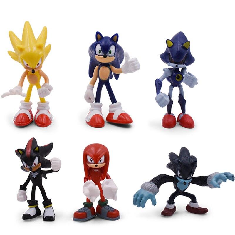 Sonic Anime Doll figuras de acción de juguete caja-embalado 6 unids//set 2st