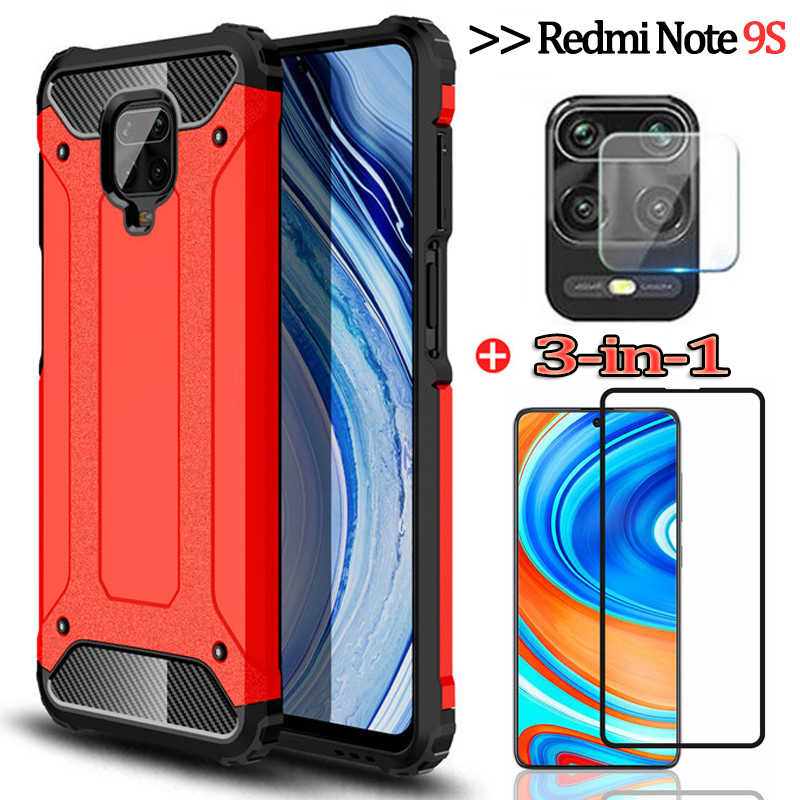 3-in-1чехол, กล้องแว่นตา + เคสโทรศัพท์ redmi note 9 s xiaomi 9s silicone anti-shock cover redmi note 8t กระจกนิรภัย note9s เคส redmi note 9s screen protector film note 9 pro xaomi ...