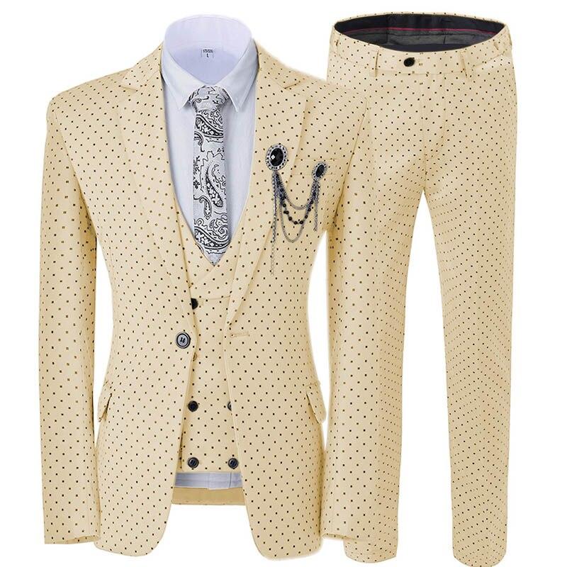 Champagne Men's Suit 3 Pieces Spotted Notch Lapel Slim Fit Double Breasted Vest Tuxedos Groomsmen For Party(Blazer+vest+Pants)