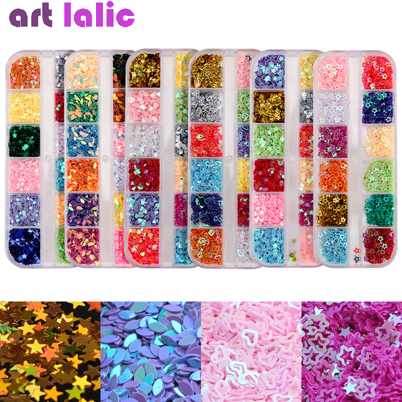 Multi-color Nail Sequins 3D Boat Flower Heart Star DIY Hollow Shapes Rivet Glitter Sequins Nail Art Decorations Accessories