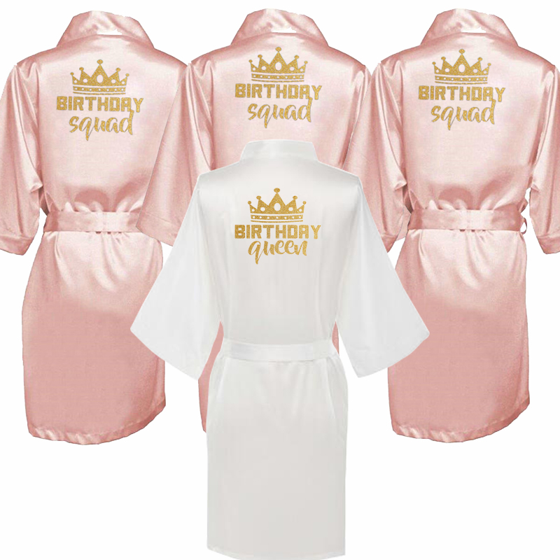 Birthday Party Queen&Squad Robes Satin Pajamas Robe Dressing Gown Pajamas Gold Writing Kimono Robe