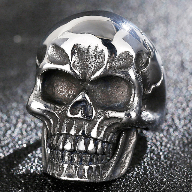 STAINLESS STEEL DEATH HEAD SKULL RING