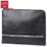 Stylish men leather Bag clutch Flap Studded 11 inch solid color Clutch purse Vintage casual Clutch leather men bag japanese