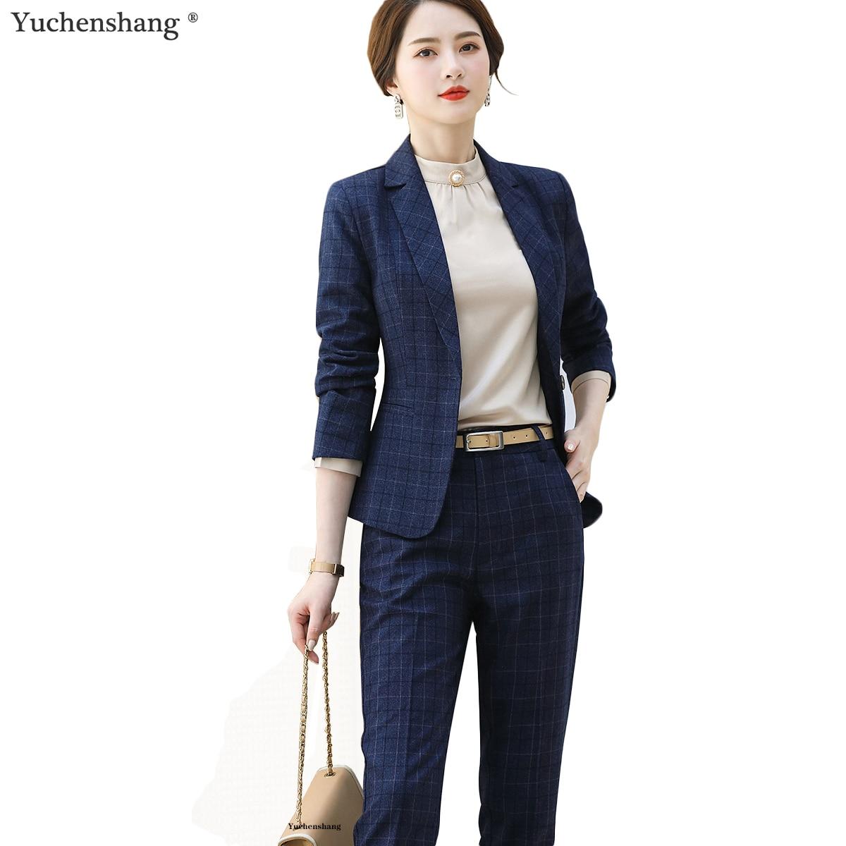 2 Pieces Set High-quality Women Plaid Pant Suit Casual Blazer Jacket Coats With Pant Trousers