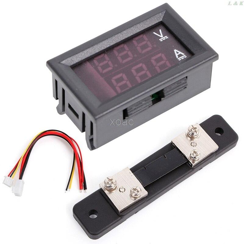 0-100V/50A Red Blue Digital Voltmeter Ammeter 2in1 DC Volt Amp Meter W/ Shunt   M08 Dropship