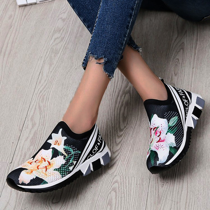Women Sneakers Flower Sock Shoes Wedges Height Increasing Chunky Thick Sole Platform Vulcanized Ladies Loafers Zapatos De Mujer