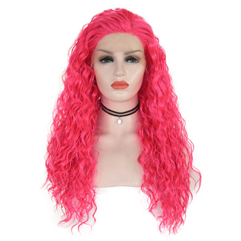 AIMEYA Pink Long Body Loose Water Curly Synthetic Lace Front Wig For Women Free Part Glueless Heat Resistant Fiber Cosplay Wigs