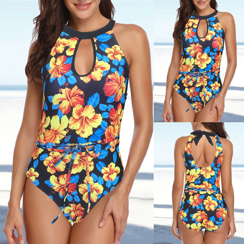 Women Bikini Set Floral Printed Swimwear Vintage Striped Bottom Biquini Summer Halter Sexy Mujer High Waist Swimsuit Beach Wear