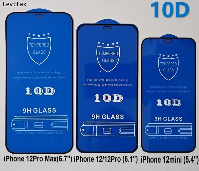 10Pcs 10D Tempered Glass For iPhone 12 11 Pro Max XS Max XR X 8 Plus 7 6 6S SE 2020 Full Screen Protector For i12mini Glass Film