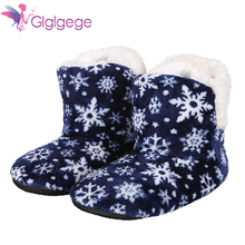 цена на Glglgeg Winter Snowflake Super Soft Bottom Indoor Home Shoes Long Plush Warm Moon Cotton Shoes Foreign Trade Indoor slippers