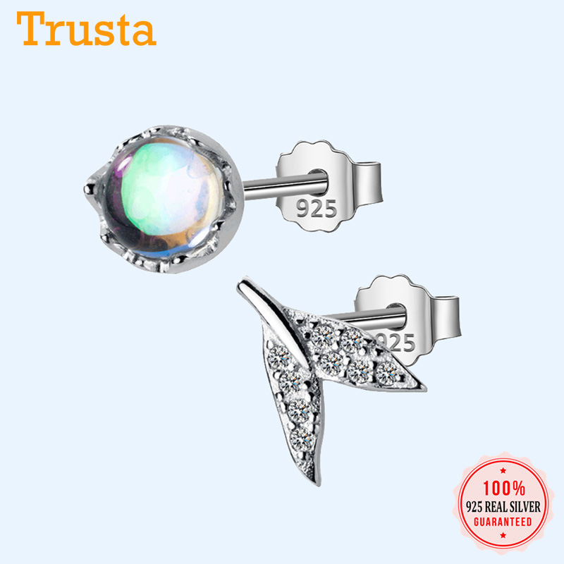 Trustdavis 100% 925 Sterling Silver Glass Asymmetrical Fish Tail CZ Stud Earrings For Women Silver 925 Jewelry DA55