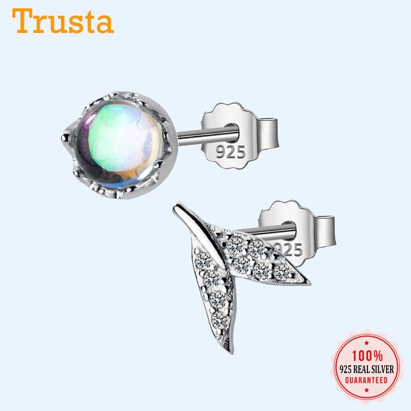 Trustdavis 100% 925 Sterling Silver Glass Asymmetrical Fish Tail CZ Stud Earrings For Women Silver 925 Jewelry DA55