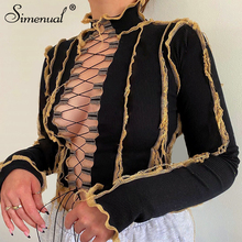 Simenual Ribbed Patchwork Women Tie Front Top Fashion Lace Up Hot Sexy Hollow Out Crop Tops Club Autumn Mock Neck Bodycon Tees
