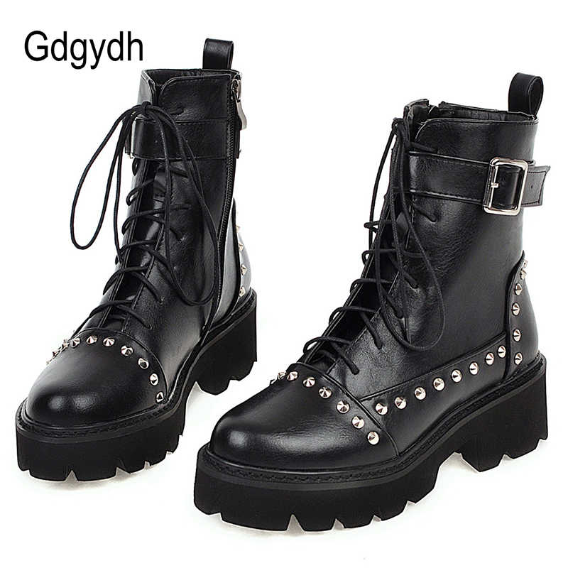 Gdgydh Sexy Rivet Military Boots Women Lace Up Black Leather Ankle Boots Mid Heel Goth Style Short Boots for Autumn High Quality