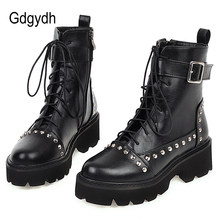 Gdgydh Sexy Rivet Military Boots Women Lace Up Black Leather Ankle Boots Mid Heel Goth Style Short Boots for Autumn High Quality(China)