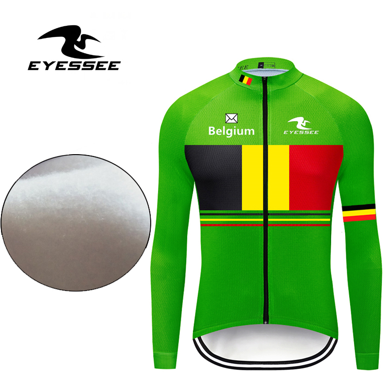 Bicycle-Clothing Cycling-Jersey Belgium Long-Sleeve Hot-Fleece Ropa-Ciclismo Winter Warm
