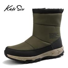 KATESEN New Fashion Men Boots High Quality Waterproof Ankle Snow Boots Shoes Warm Fur Plush Slip-On Winter Shoes Men Shoes