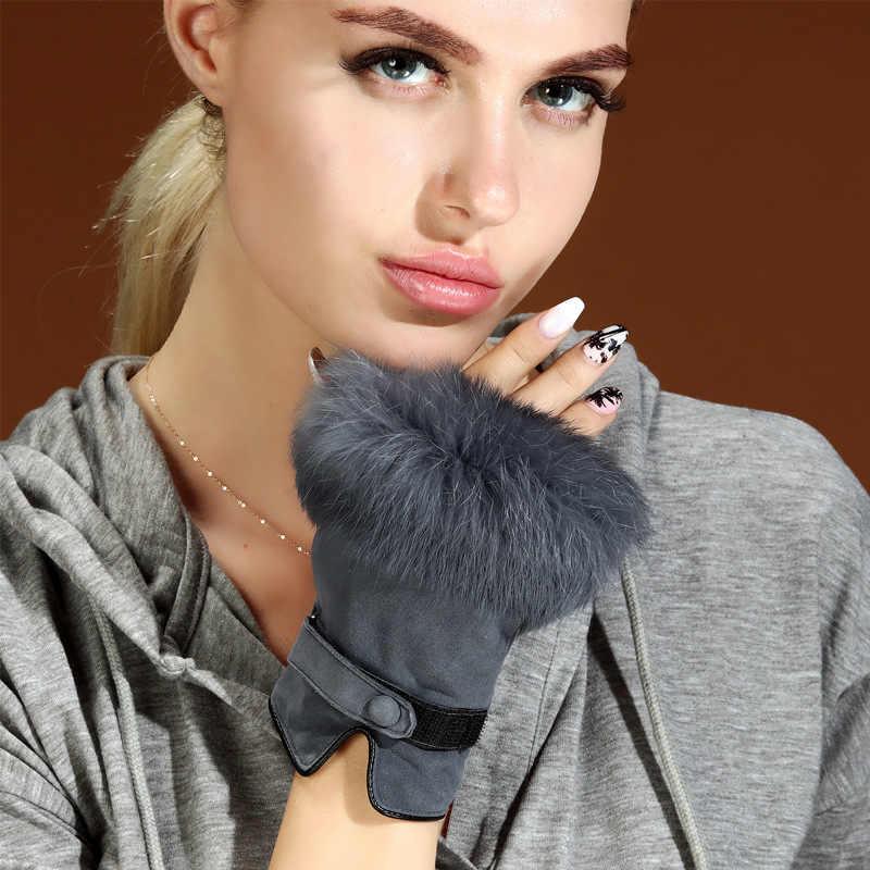 Mulheres Inverno Luvas De Couro sem dedos de Pele de Coelho Fêmea Camurça Mão da Senhora de pele de Carneiro Quente Luvas de Condução de Carro Invierno Mujer
