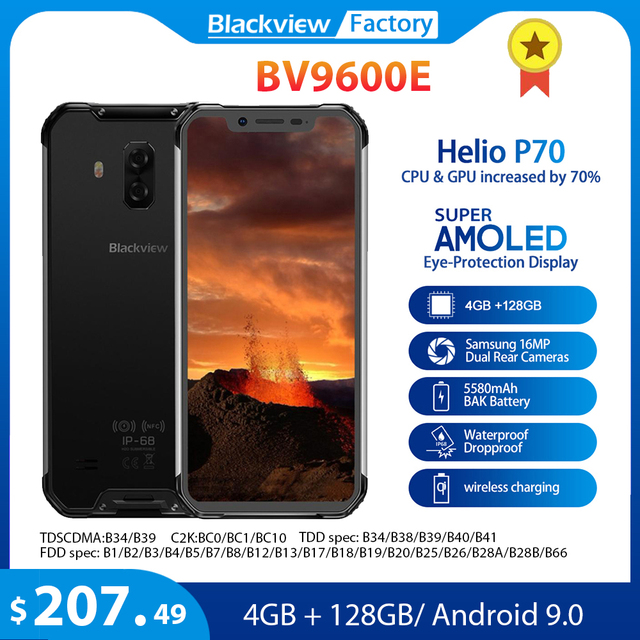 Blackview BV9600E 4GB 128GB IP68 Rugged Smartphone 6.21 FHD+ AMOLED Android 9.0 Global 16MP P70 AI Octa Core mobile phone