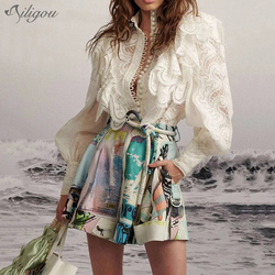 Ailigou 2020 High Quality Women Blouse Shirt Lantern Sleeve Ruffled Style Hollow Out Blouse Shirt Women Embroidery  Top