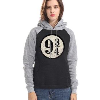 Platform 9-3/4 Hogwarts Hoodies Women Sweatshirts Vintage Nine And Three Quarters Raglan Hooded Pullover