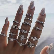 15PCS/Set Bohemian Crystal Heart Rings Set For Women Tribal Indian Silver Color Finger Rings 2020 Statement Female Jewelry Gif(China)