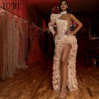 Special Design Irregular Formal Party Gowns One Shoulder High Neck Sequins Beaded Crystal Evening Dress Tiered robe de soiree