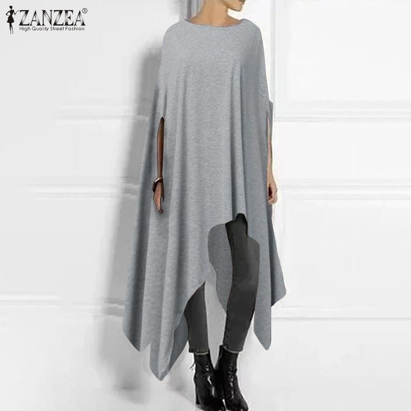 Vintage Poncho Coats Women's Asymmetrical Jackets 2020 ZANZEA Casual Half Sleeve Outwear Cape Female O Neck Pullovers Plus Size
