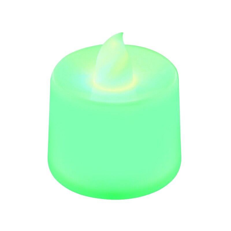 Батареи в комплекте чайный свет мерцающий беспламенный светодиодный свечи Буги велы электрические свечи Chandelle Свадебные украшения - Цвет: Зеленый