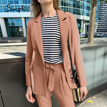 Simplee Two-piece Blazer Women Suits Long Sleeve Double Breasted Casual Blazer Pants Set Office Ladies Elegant  Pant Suits 2020