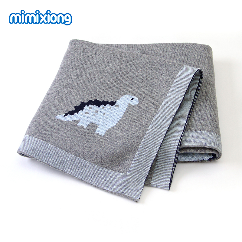 Baby Blankets Dinosaur Knitted Newborns Swaddle Wrap Envelopes For Stroller Sofa Bedding Crib Quilts 100*80cm Kids Cotton Covers