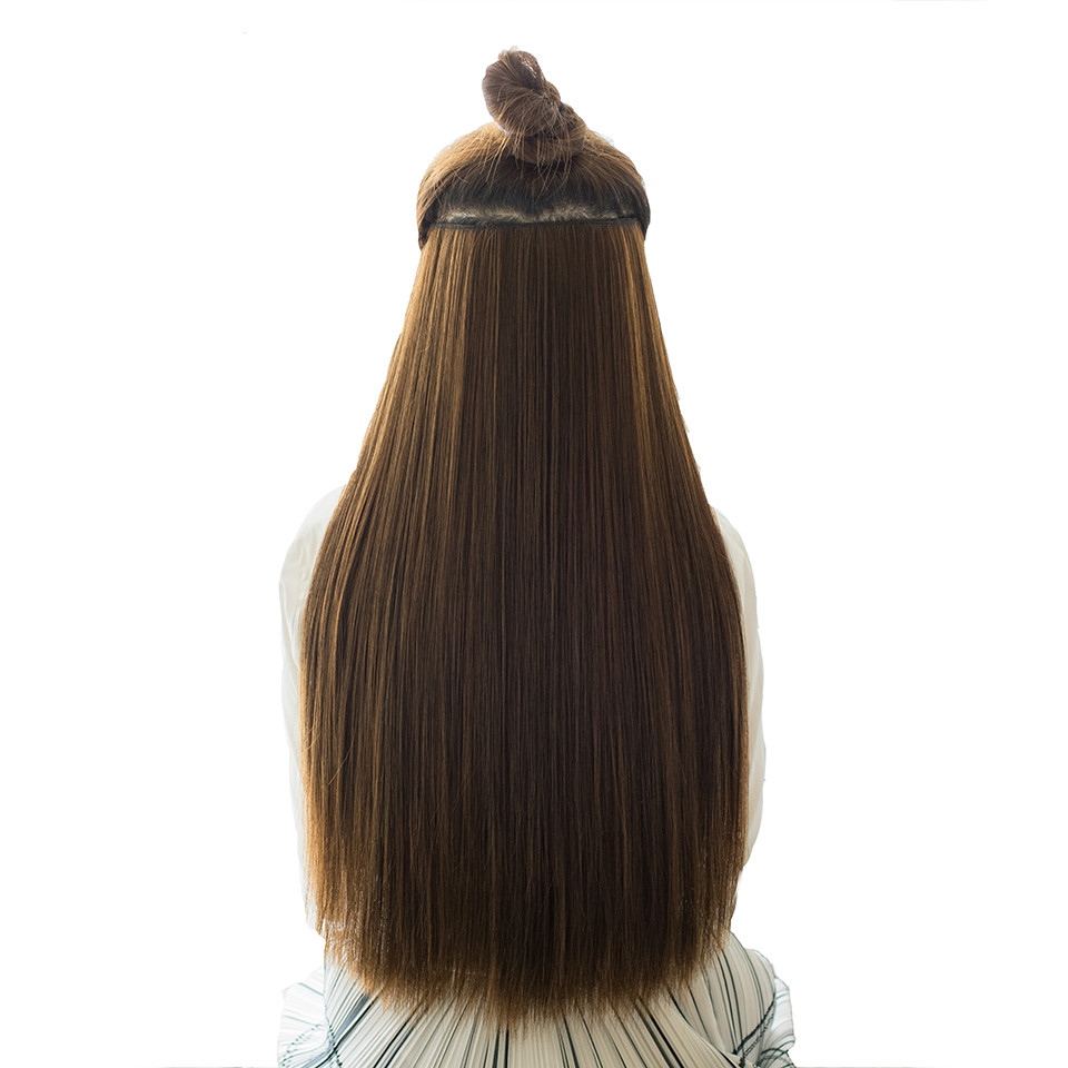 Allaosify 60cm 5 Clip In Hair Extension Heat Resistant Hairpieces Long Straight Hairstyles Synthetic Clip In On Hair Grey Hair