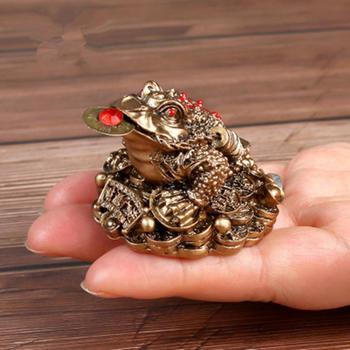 סיני Fengshui קרפדת מזל מזל עושר בציר זהב צפרדע צלמית בעלי החיים פסל לבית משרד Destop קישוט קישוט