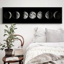 Ahpainting arte da parede lua fase preto branco cartazes quadros da arte lona abstrata pintura de parede para sala estar decoração casa