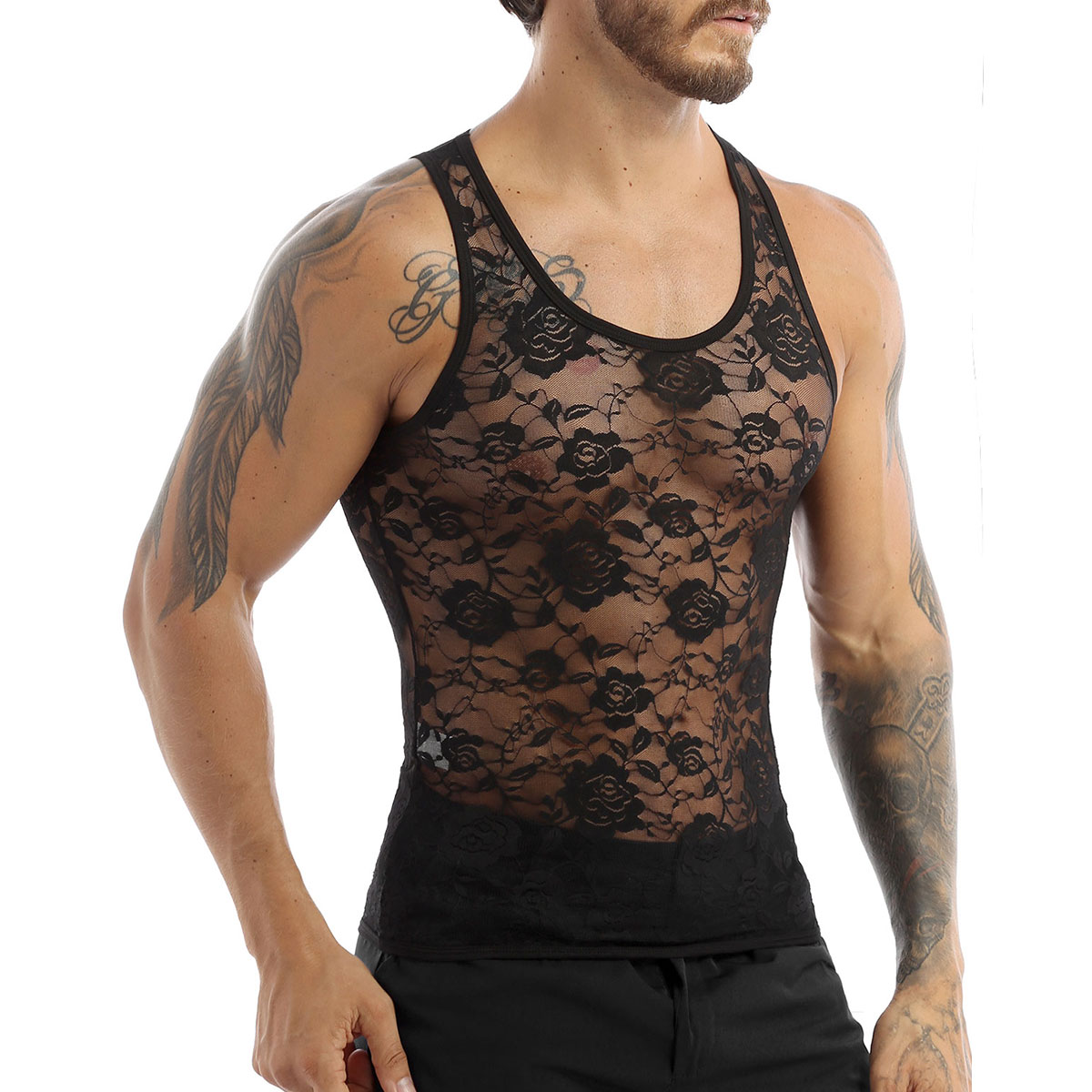 US Sissy Men Lingerie Stretchy Floral Lace Vest Undershirt Tank Tops Underwear