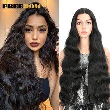 FREEDOM-Peluca de cabello sintético para mujeres negras, pelo ondulado de 28 pulgadas, línea de cabello Natural, largo ondulado verde ombré, Cosplay