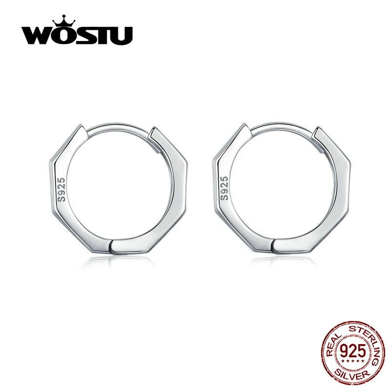 WOSTU Original Style Hoop Earrings 925 Sterling Silver Small Clip Earrings For Women Wedding Party Silver 925 Jewelry CQE622