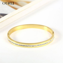 OUFEI Stainless Steel Jewelry Gold Color Bracelets Bangles Woman Accesories Jewellery