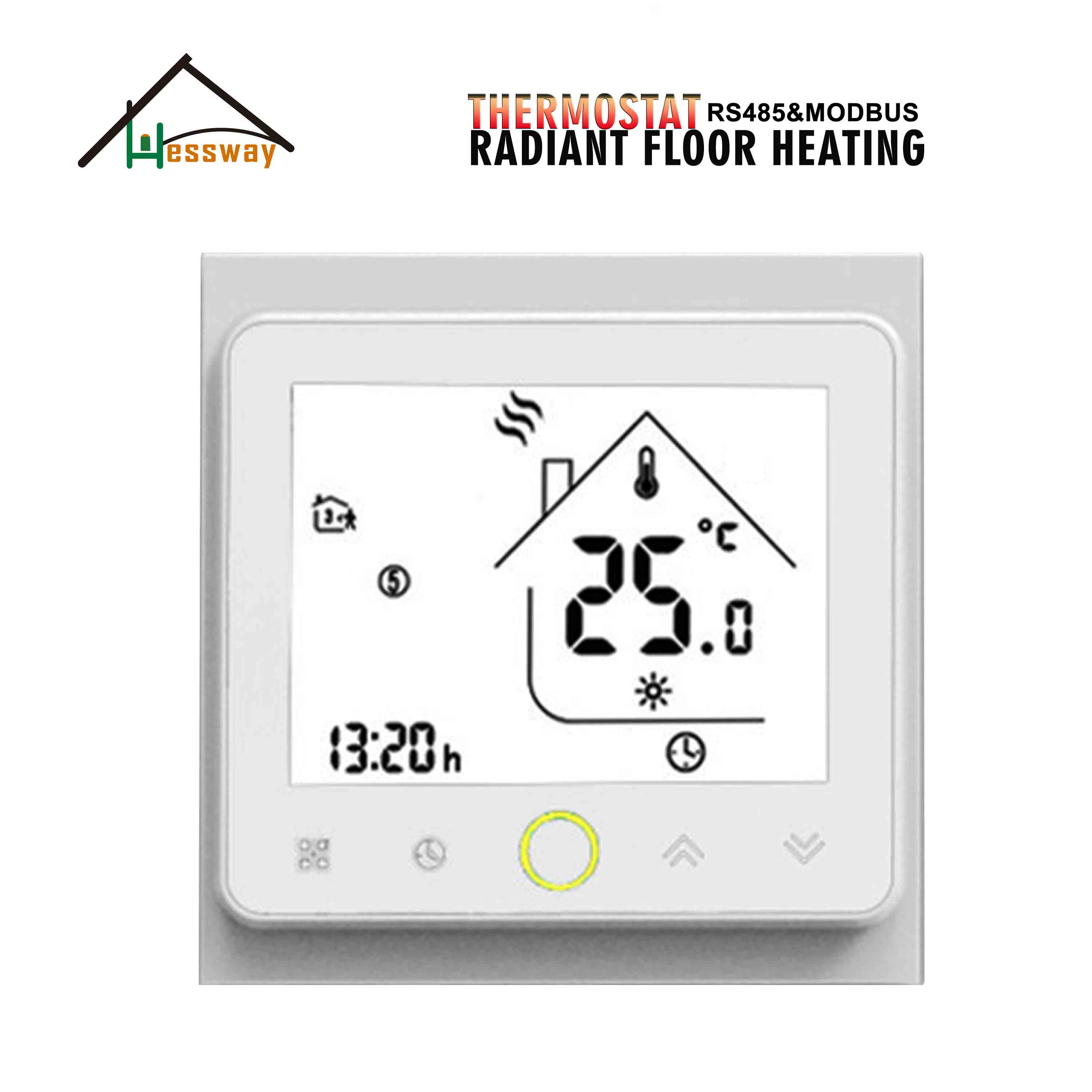 HESSWAY NC/NO Electric Actuator Control RS485&MODBUS THERMOSTAT With Radiant Floor Heating