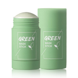 Green Tea Cleansing Solid Mask Purifying Clay Stick Mask Oil Control Anti-Acne Eggplant Skin Care Whitening Care Face