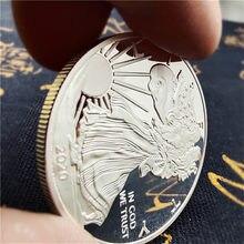 2020 estátua americana da liberdade águia moeda banhado a prata comemorativa coleção de moedas novo presente decoração para casa com caixa