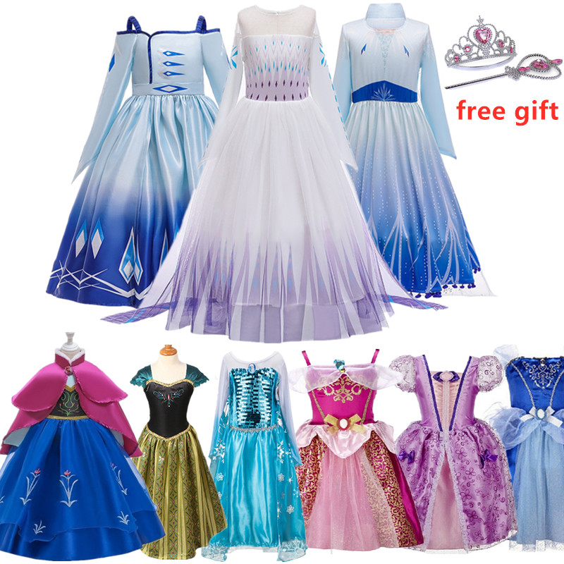 2020 Baby Girl Anna Elsa Princess Dress For Girls Halloween Carnival Party Dress Up Birthday Costume Childen Clothing Vestidos