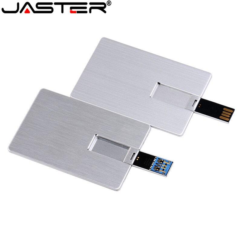 JASTER Usb Flash Drive USB 3.0 4GB 8GB 16GB 32GB 64GB Metal Card Pendrive Business Gift Usb Stick Credit Card Pen Drive